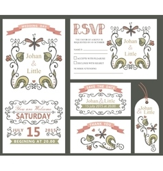 Vintage wedding design template setFloral decor vector