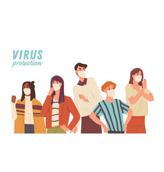 virus protection concept crowd people wearing vector image
