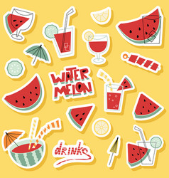 watermelon cocktails sticker set with lettering vector image
