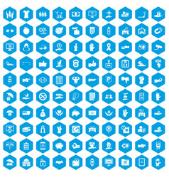 100 hand icons set blue vector image vector image