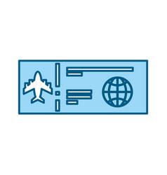 color blue airplane ticket cartoon vector image