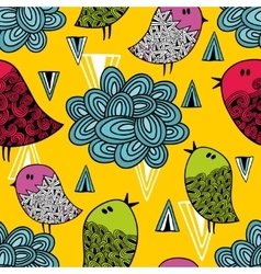 Colorful seamless pattern with cute birds and vector image