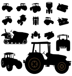tractor silhouette vector image vector image