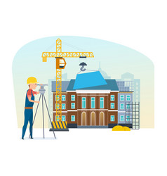 cadastre engineer next to university construction vector image