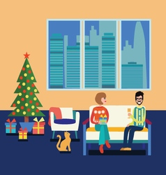 Couple at home sitting on sofa in the christmas vector