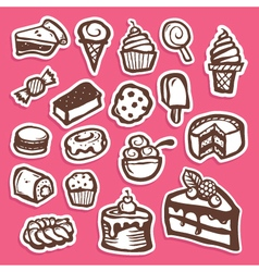 Dessert and Baking Sticker Icons vector image