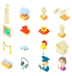 Museum icons set in cartoon style vector image vector image