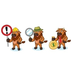 Bison Mascot with money vector image