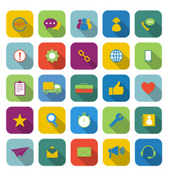 customer service color icons with long shadow vector image vector image