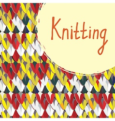Knitting background with frame hand drawn vector image