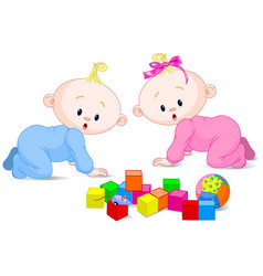 playing babies vector image vector image