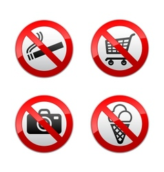 set prohibited signs - supermarket symbols vector image