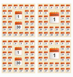 universal set of wall calendar from september to vector image vector image