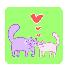 cartoon enamored cats in purple and pink colors vector image vector image