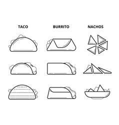 mexican cuisine food taco burrito and nachos vector image vector image