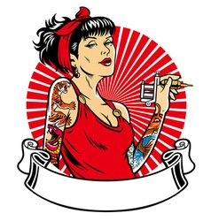 Tattoo girl with blank banner for text space vector