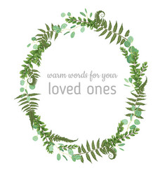 3beautiful leafy frame wreath of eucalyptus fern vector