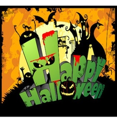 3d type of the text Happy Halloween vector image