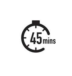 45 minutes timer stopwatch or countdown icon time vector