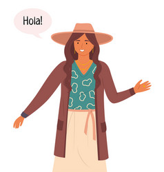 a latin american young woman greets in her native vector image
