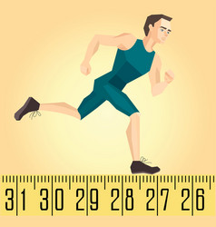 a running athlete on the measuring tape vector image