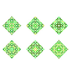 Abstract ornate flower square symbol template set vector