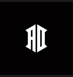 Ad logo monogram with shield shape designs vector