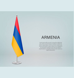 Armenia hanging flag on stand template vector