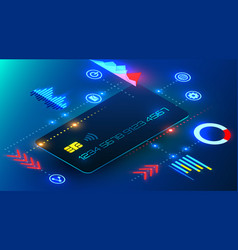Banking credit card with infographics elements vector