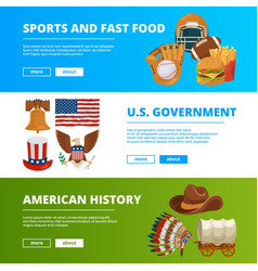 banners set with symbols american culture vector image