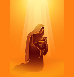 Biblical silhouette mary and baby jesus light vector