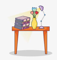 Books on desk vector