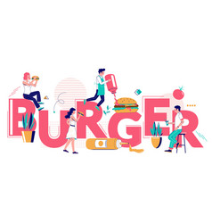 burger typography banner template flat vector image