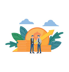 Business deal two businessmen shaking hands vector