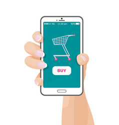 buy button on web application with shopping cart vector image