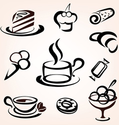 Caffe bakery and other sweet pastry icons set vector