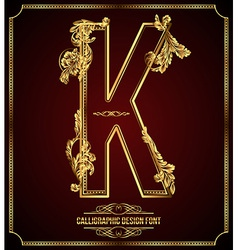 Calligraphic font Letter K vector image