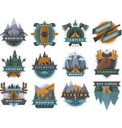 Camping outdoor tourist travel logo scout badges vector