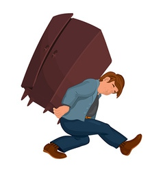Cartoon man in gray jacket carries heavy furniture vector