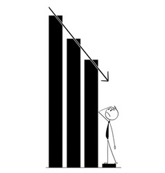 cartoon of businessman watching decline of graph vector image