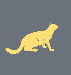 Cat furtively looking up silhouette side view vector