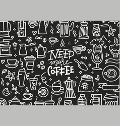 chalkboard banner need more coffee lettering vector image