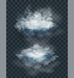 Cloud set and smoke isolated on transparent vector