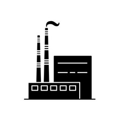 Coal power plant silhouette icon in flat style vector