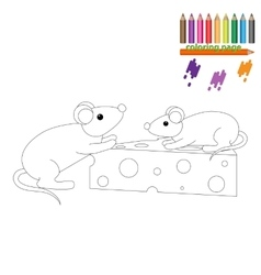 Coloring page Mouses with a piece of cheese vector image