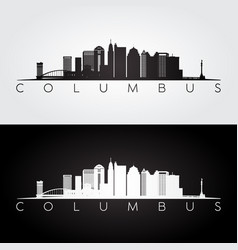 Columbus skyline and landmarks silhouette vector
