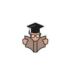 Creative student open book logo design symbol vector