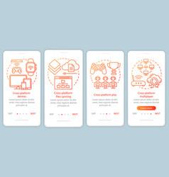 Cross platform multiplayer onboarding mobile app vector