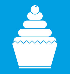 Cupcake icon white vector