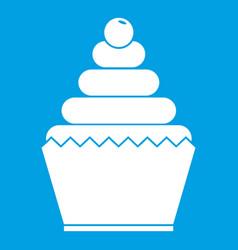 cupcake icon white vector image